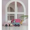 Kép 3/3 - Fa lószállító autó pasztell rózsaszín Jabadabado