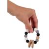 Kép 2/3 - Magni szilikon és fa rágóka gyöngyökkel, pasztell szürke