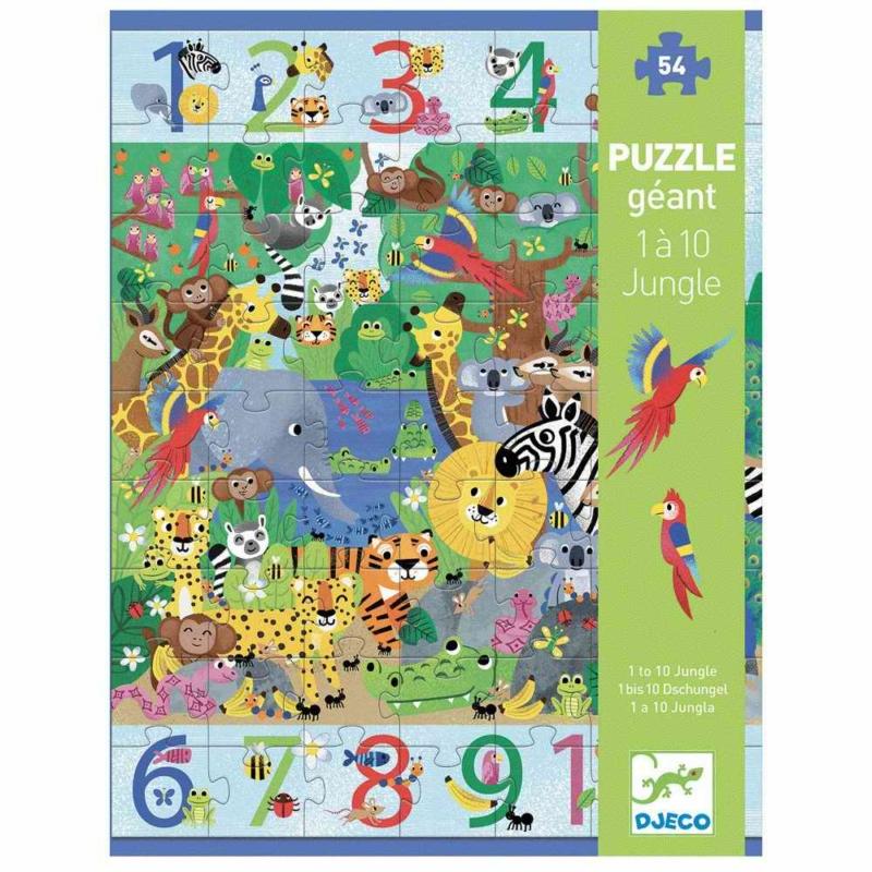 Megfigyeltető puzzle - Dzsungelben 1-10-ig, 54 db-os - 1 to 10 Jungle