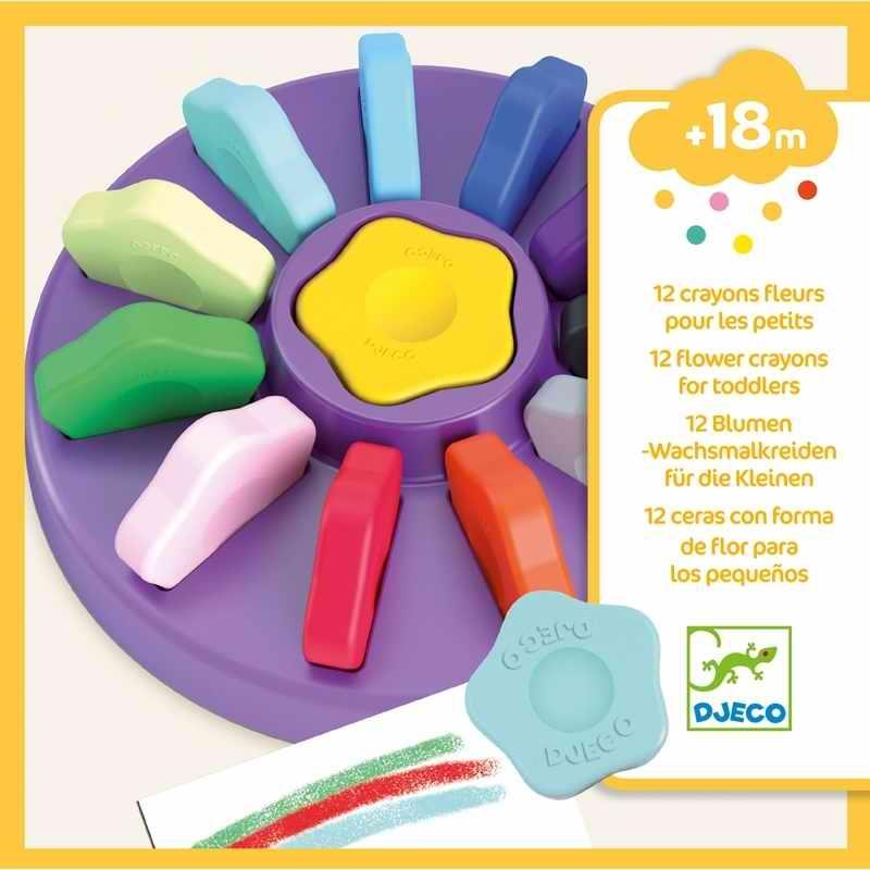 Marokkréta - 12 színű virág - 12 flower crayons for toddlers