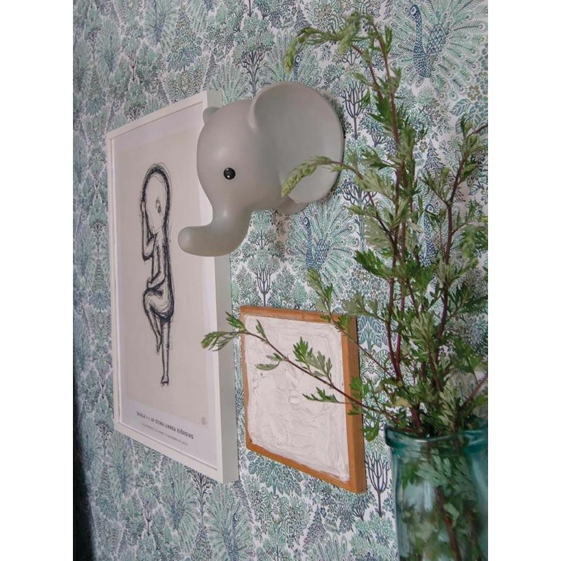 Fali lámpa elefánt pasztell szürke Jabadabado