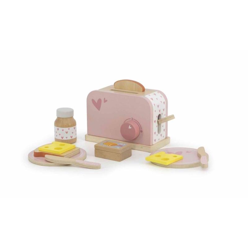 Fa játék kenyérpirító rózsaszín