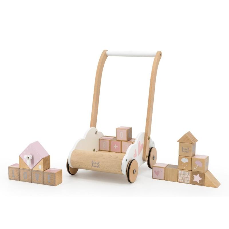 Fa járássegítő építőelemekkel rózsaszín