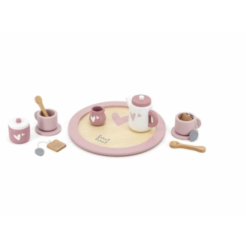 Fa teáskészlet rózsaszín