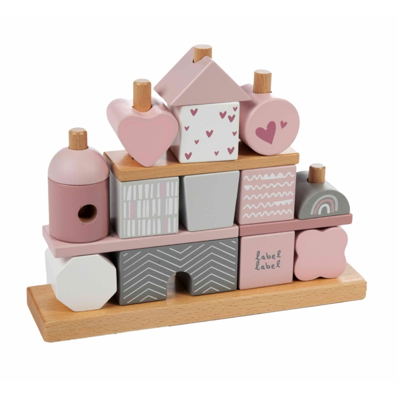 Fa játék formaépítő rózsaszín