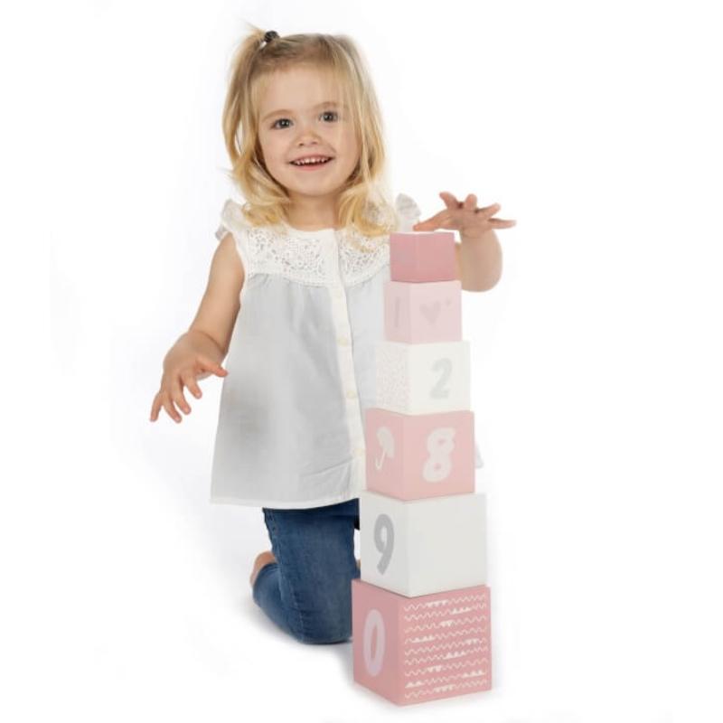 Fa játék építőkocka számokkal - rózsaszín
