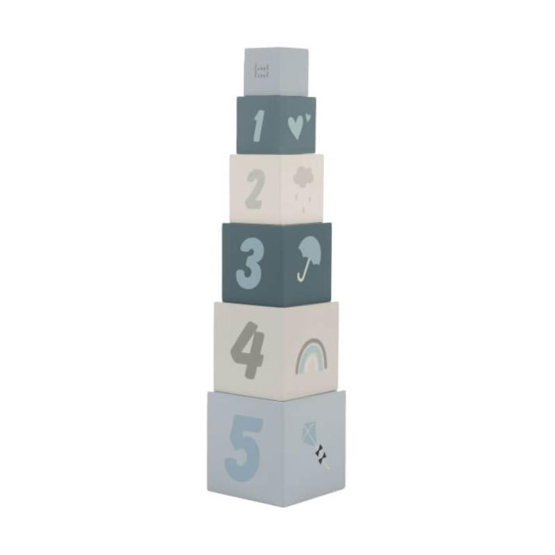 Fa játék építőkocka számokkal - kék