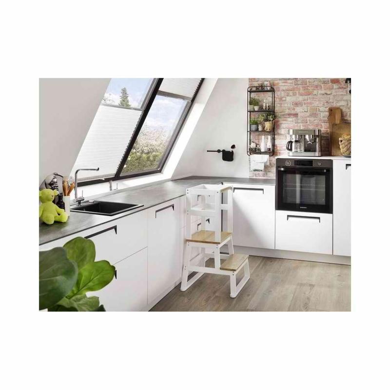 BOMI kétlépcsős konyhai fellépő korláttal natúr-fehér