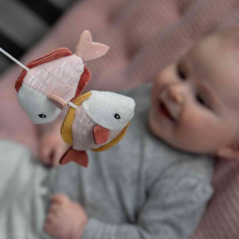 Little Dutch zenélő körforgó natúr fa vázzal tengeri állatos pink