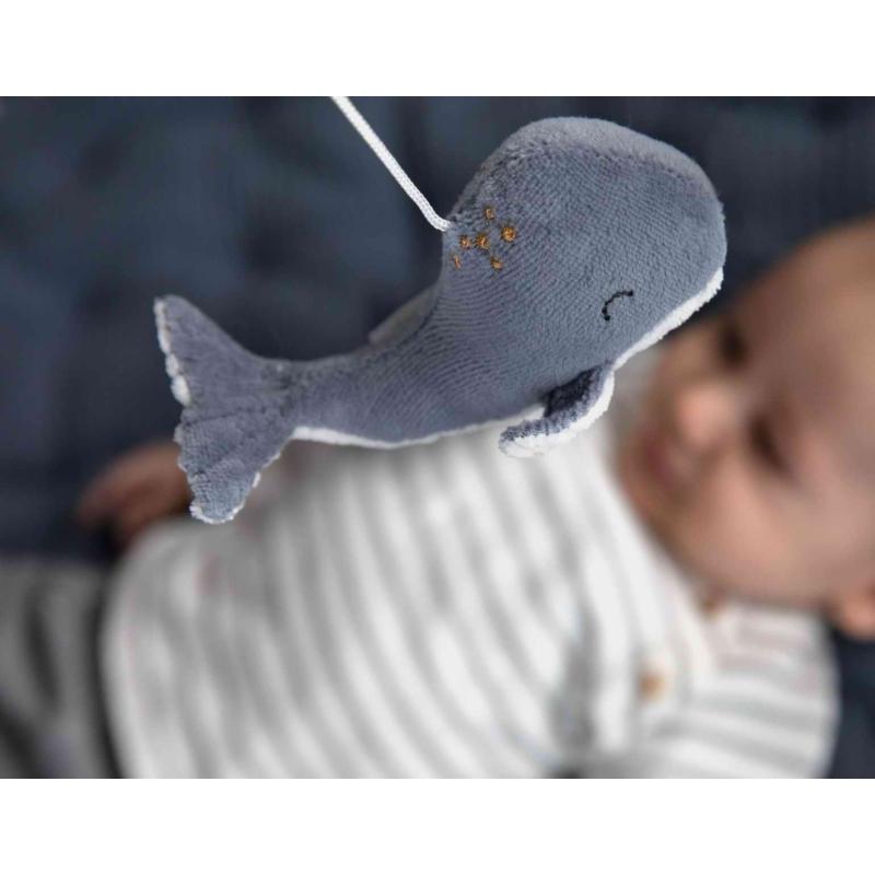 Little Dutch zenélő körforgó natúr fa vázzal tengeri állatos kék