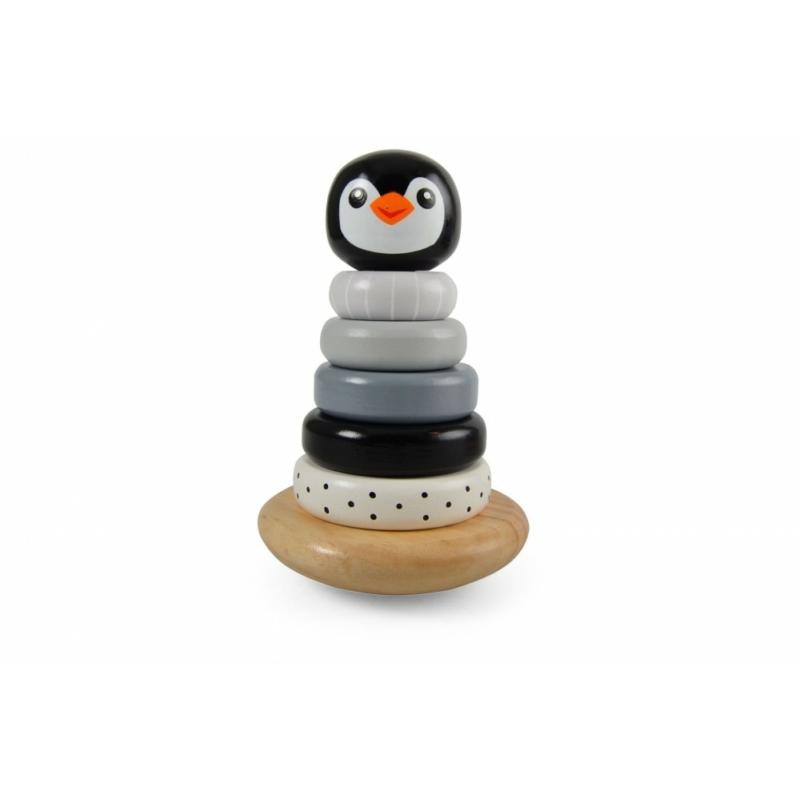 Magni pingvines toronyépítő játék fából