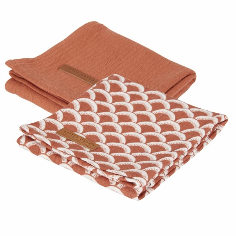 Little Dutch textilpelenka sunrise rozsdavörös 70x70 cm (2 db)